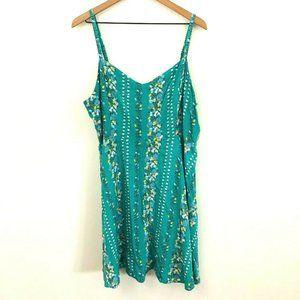 Old Navy Green Floral Smocked Sleeveless Dress XXL